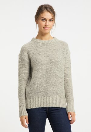 Stickad tröja - grau melange