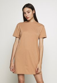 Missguided Petite - BASIC TSHIRT DRESS 2 PACK - Žerzejové šaty - black/tan - 1