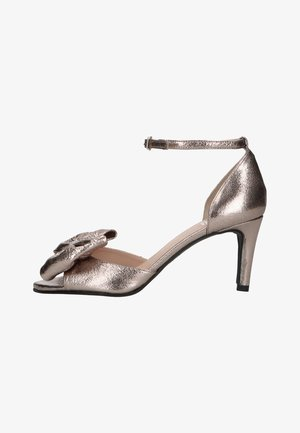 MIT SCHLEIFE - High heeled sandals - silber