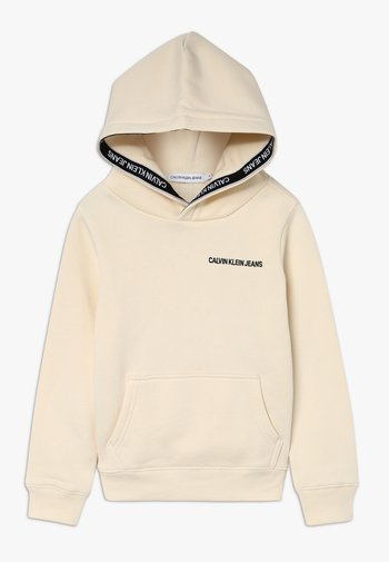 LOGO TAPE HOODIE - Bluza z kapturem - beige