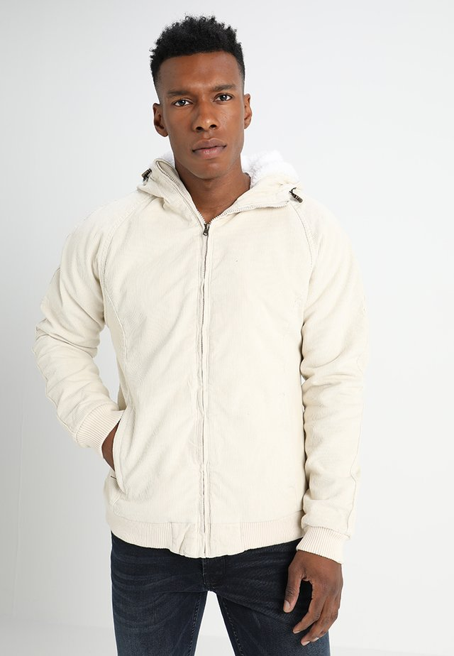 HOODED CORDUROY JACKET - Light jacket - light sand/offwhite