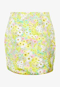 Glamorous - MAYA HIGH WAISTED MINI SKIRT WITH FRONT SIDE SPLITS - Minihame - green pink floral - 1