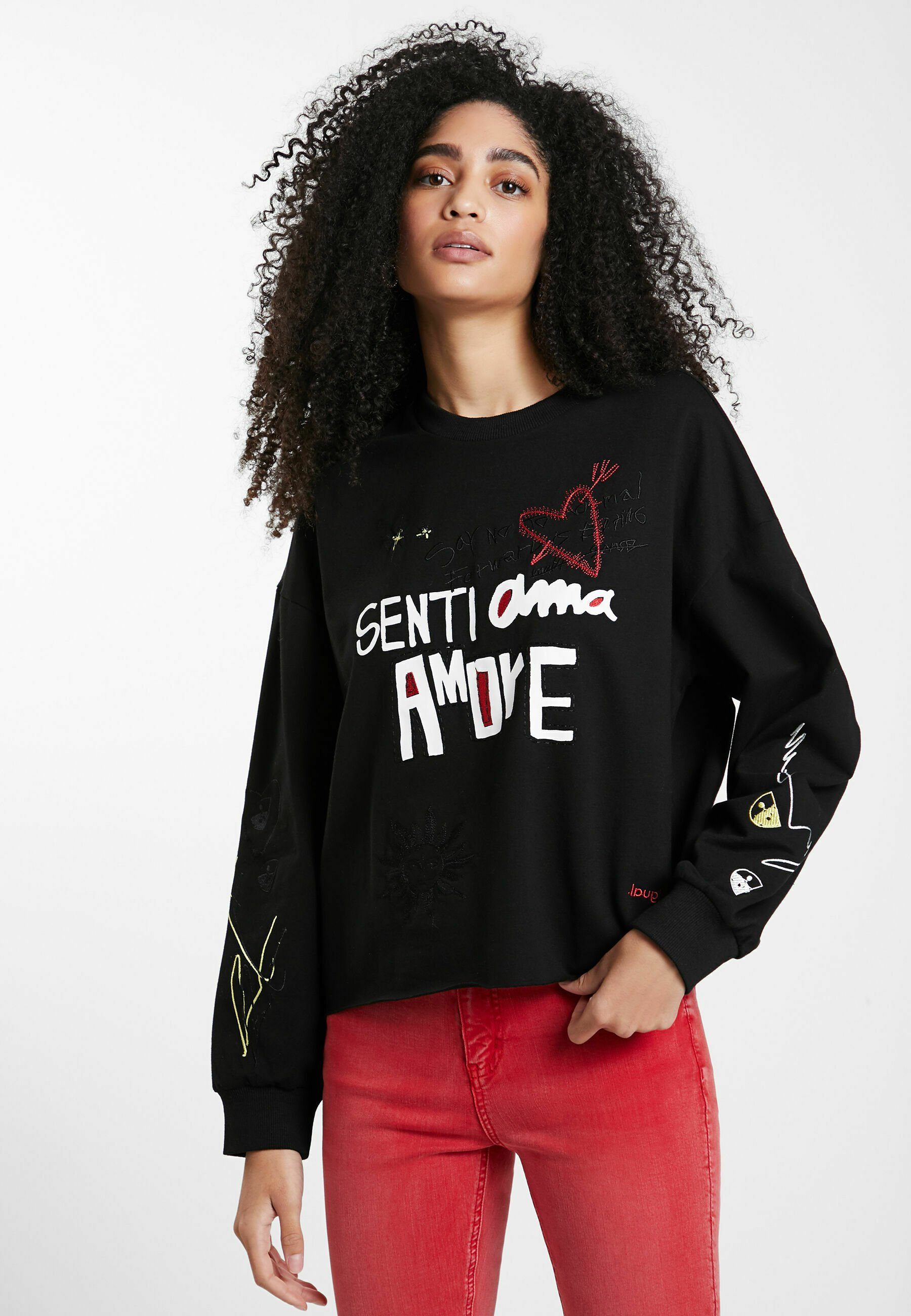 Femme LETTERING EMBROIDERY - Sweatshirt