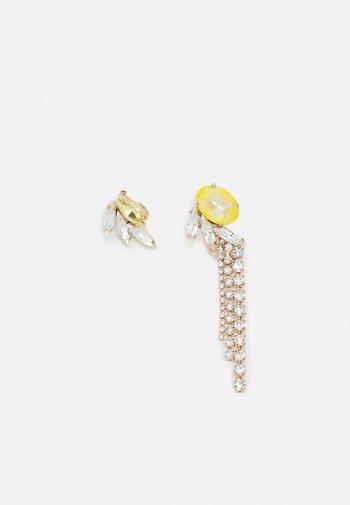 ASYMMETRIC WINGS CRYSTAL TASSEL - Earrings - yellow