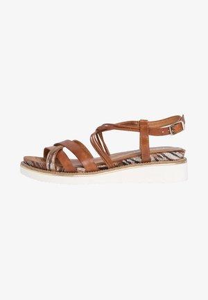 TAMARIS SANDALE - Wedge sandals - nut