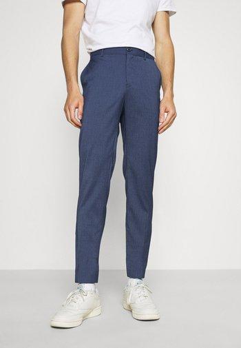 STRETCH GRID CHECK SUIT PANT - Pantalon classique - navy