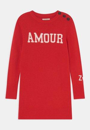 LONG SLEEVED DRESS - Strickkleid - bright red