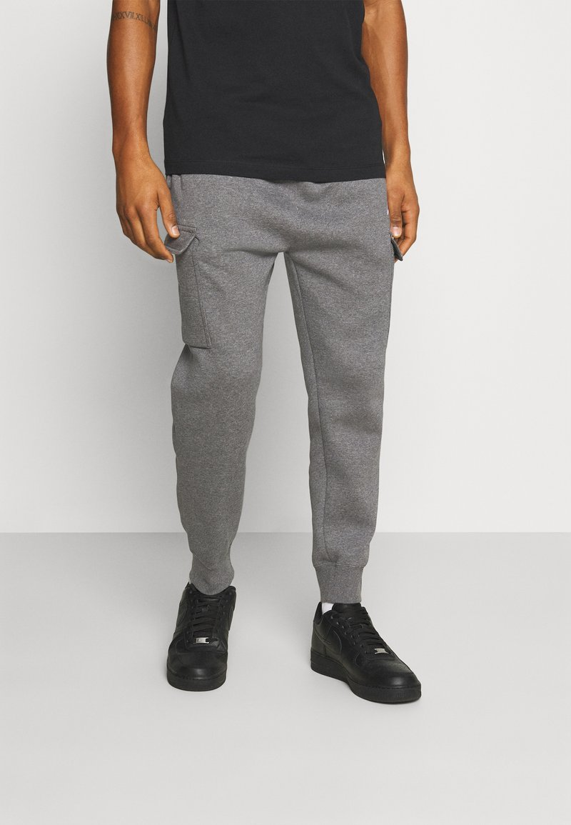Nike Sportswear - CLUB PANT - Cargo trousers - charcoal heather/anthracite/white