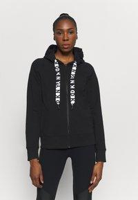 DKNY - TWO TONE LOGO ZIP FRONT - Zip-up sweatshirt - black - 0