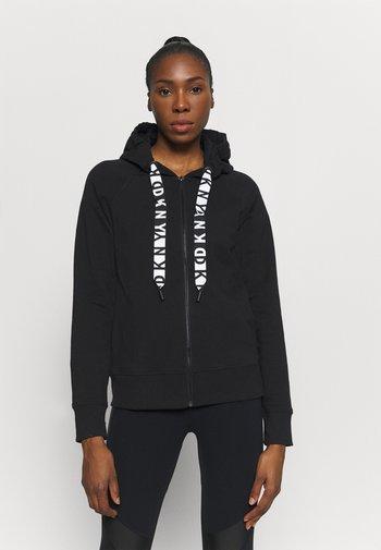 TWO TONE LOGO ZIP FRONT - Zip-up sweatshirt - black
