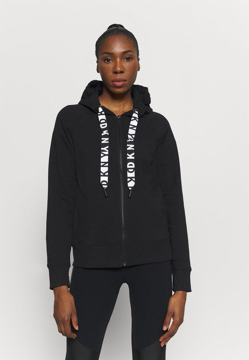 DKNY - TWO TONE LOGO ZIP FRONT - Zip-up sweatshirt - black