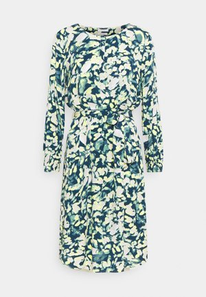 DRESS PRINTED MIDI - Shirt dress - navy/mint