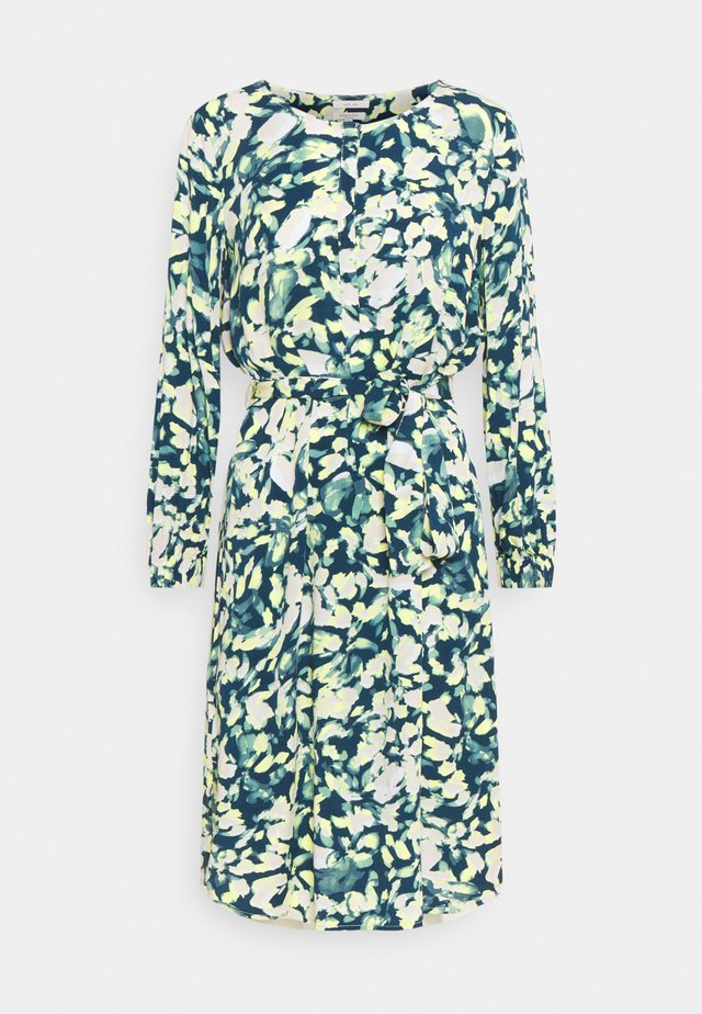 DRESS PRINTED MIDI - Robe chemise - navy/mint