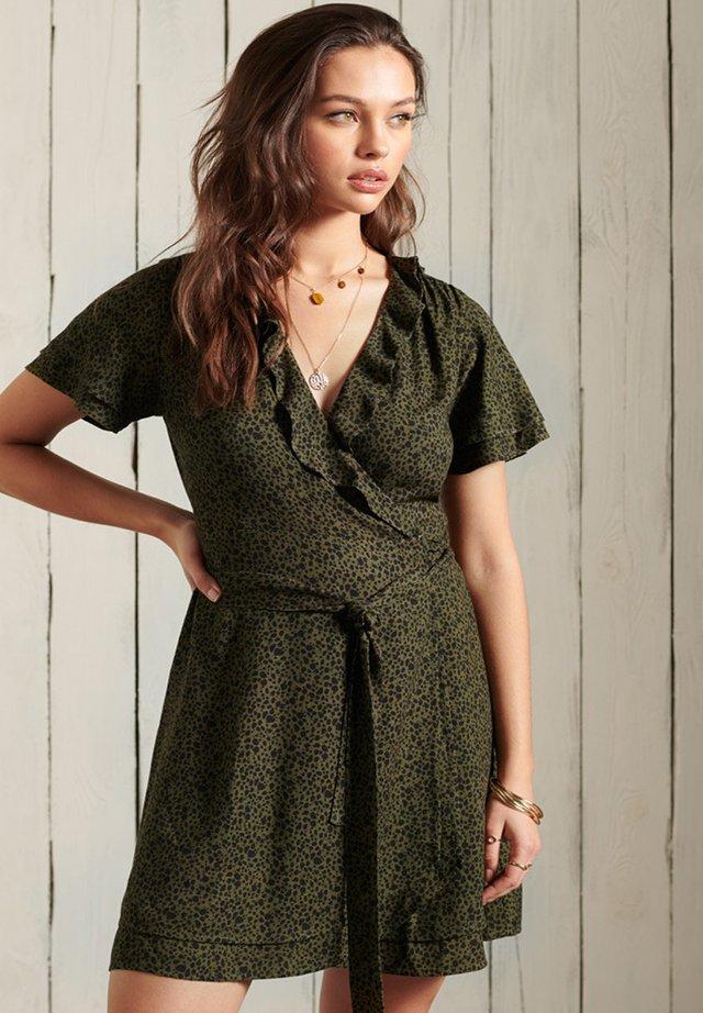 Korte jurk - dark olive leopard