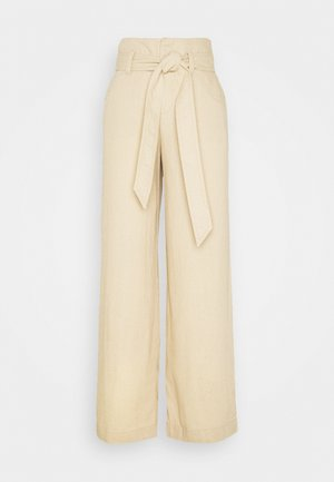 WIDE LEG SOLID - Trousers - wicker