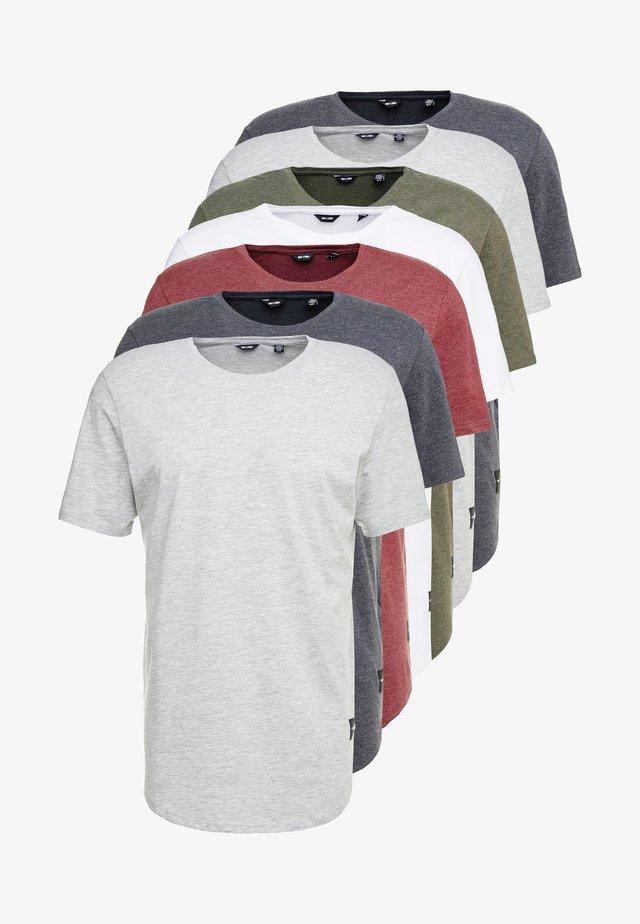 ONSMATT LIFE LONGY TEE 7 PACK - T-shirt - bas - white/cabernet melange/forest night melange
