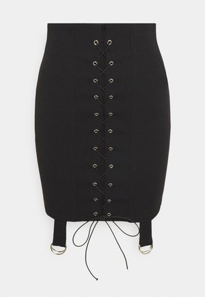 LACE UP STRAP DETAIL SKIRT - Spódnica ołówkowa  - black