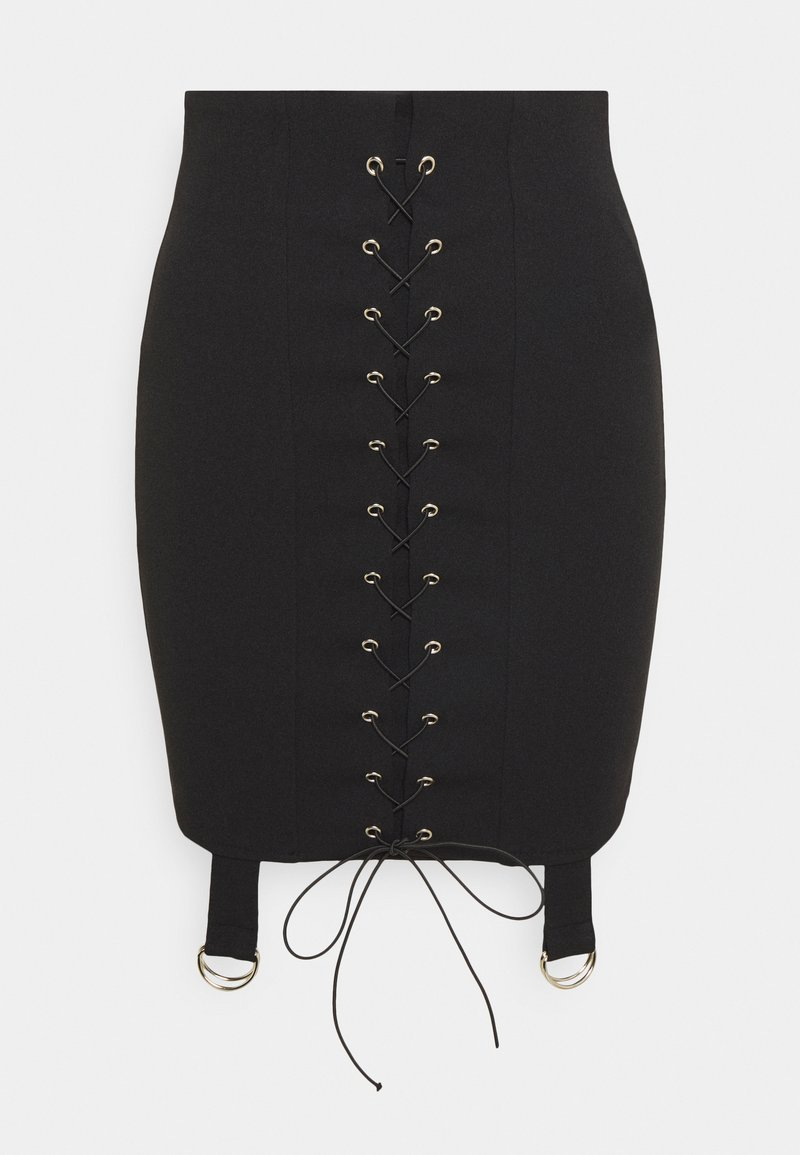 Missguided Tall - LACE UP STRAP DETAIL SKIRT - Pencil skirt - black