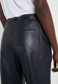KARL LAGERFELD - CARGO PANTS - Leather trousers - peacoat - 5