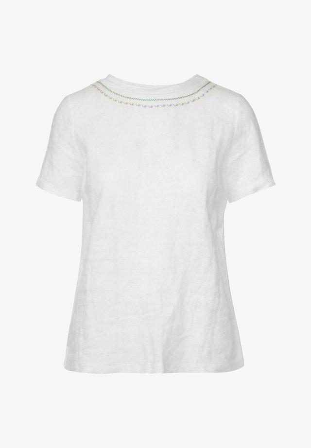 Print T-shirt - weiß/d.grün
