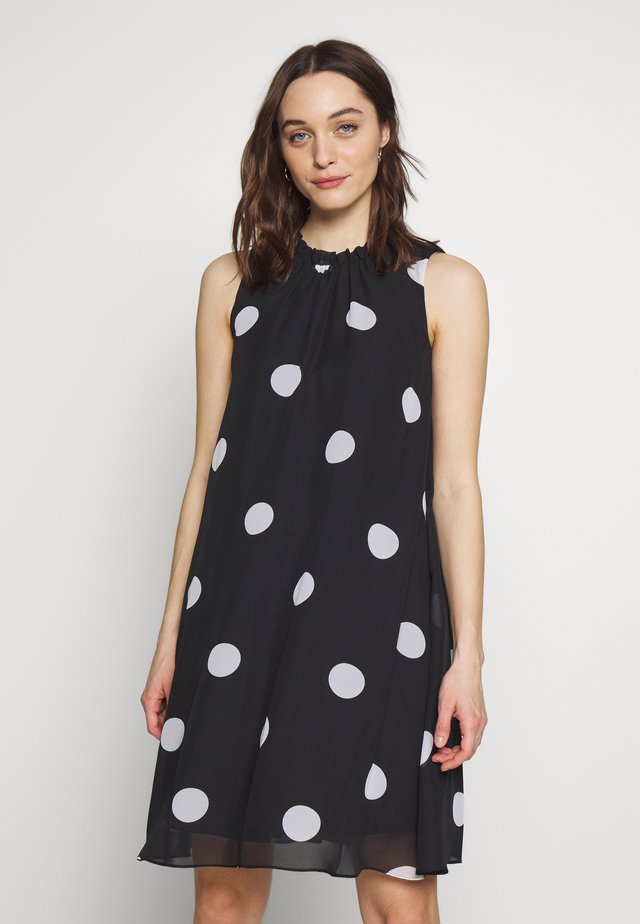 SPOT RUFFLE NECK SWING - Day dress - black
