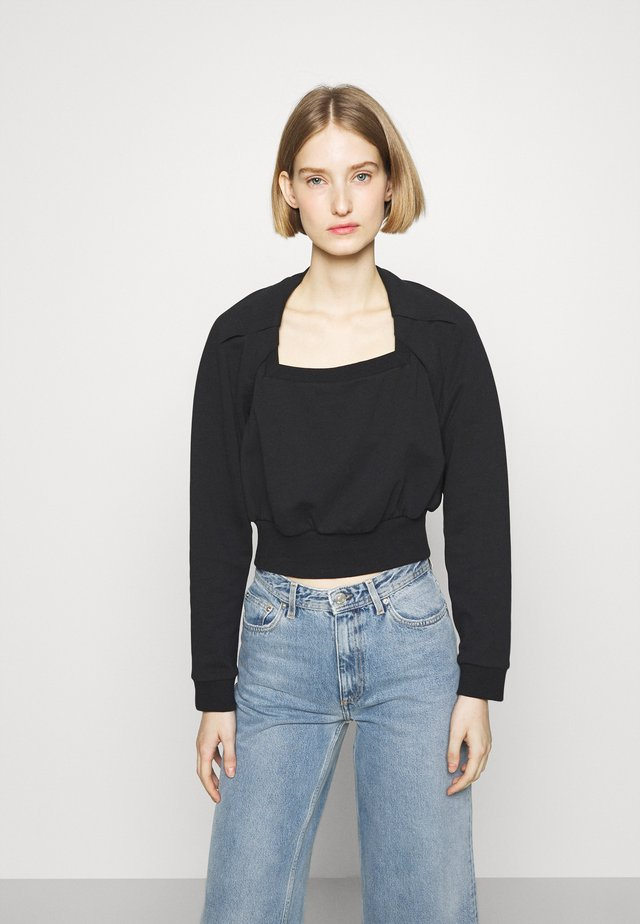 SQUARE NECK FRENCH TERRY - Sweater - black