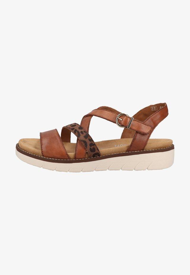 Sandalen met plateauzool - muskat/loam