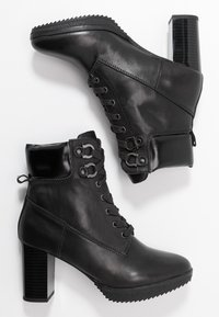 Anna Field Select - LEATHER PLATFORM ANKLE BOOTS - Platform ankle boots - black - 3