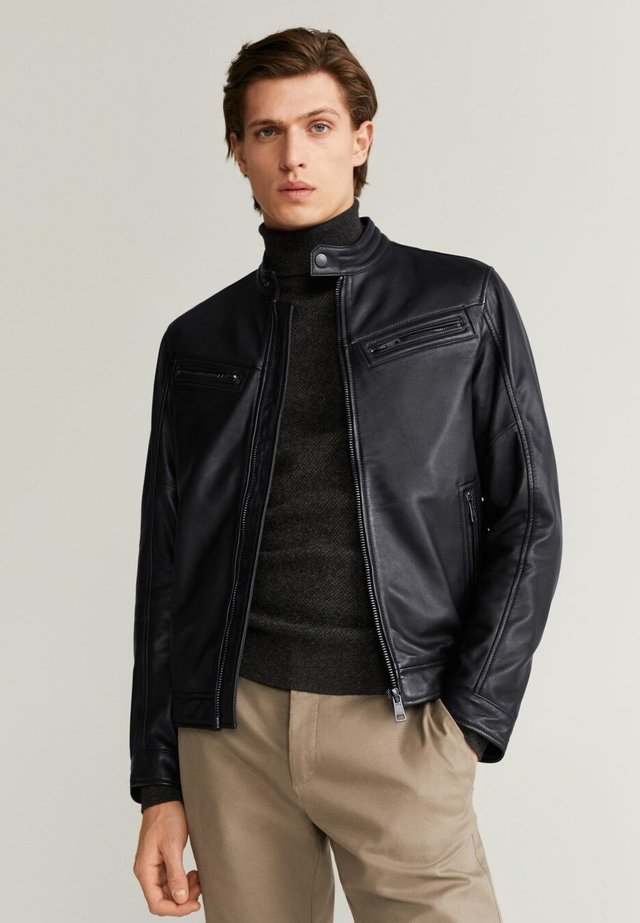 CUIR - Leather jacket - schwarz