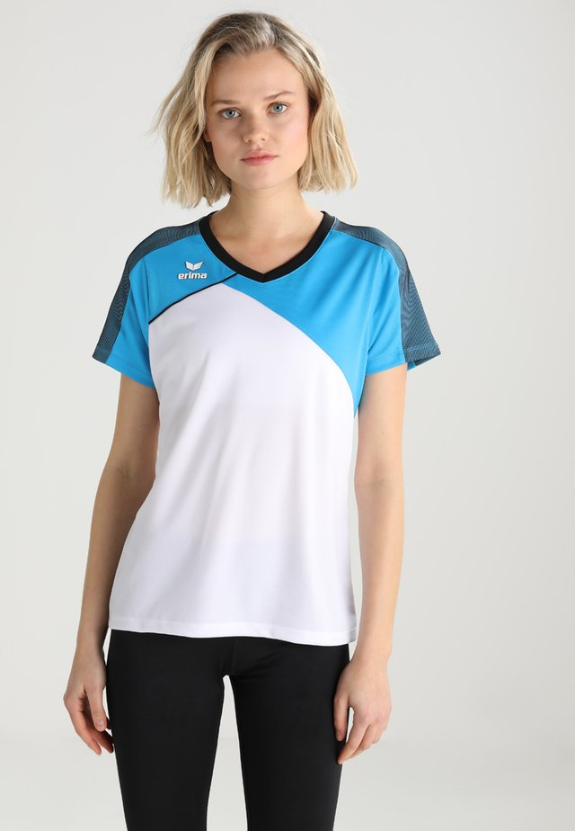 Print T-shirt - white/curacao/blau