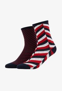 Tommy Hilfiger - WOMEN SOCK HERRINGBONE 2 PACK - Socks - navy/red - 1
