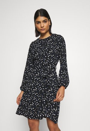 LONG SLEEVE PLEAT NECK FIT AND FLARE - Day dress - black