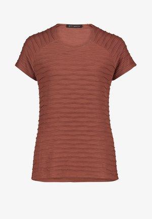 MIT WELLENSTRUKTUR - Print T-shirt - braun