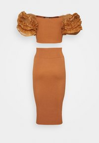Missguided Petite - PUFF ORGANZA SLEEVE AND SKIRT - Blouse - mocha - 1