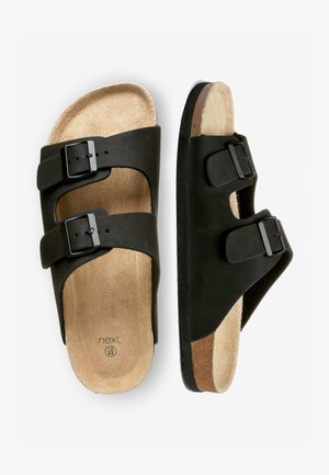 BROWN TWO BUCKLE SANDAL - Pantofole - black