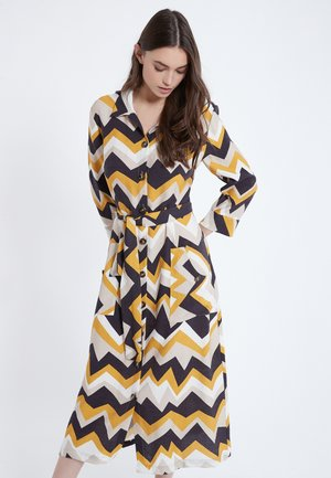 Shirt dress - yellow, dark blue, grey