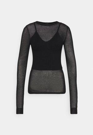 2 PIECE SHEER CAMI  - Long sleeved top - black