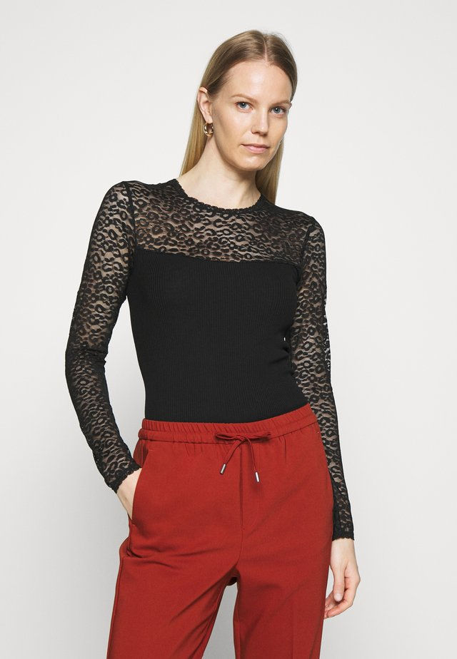 REGULAR - Long sleeved top - black