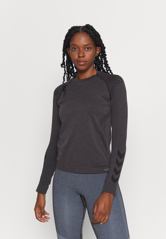 CI SEAMLESS - Treningsskjorter - black melange