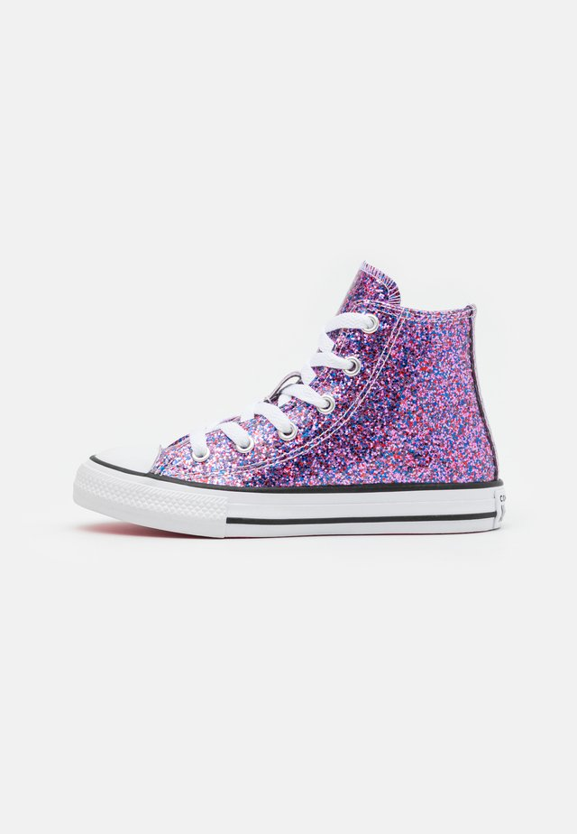 CHUCK TAYLOR ALL STAR COATED GLITTER - Höga sneakers - bold pink/white/black