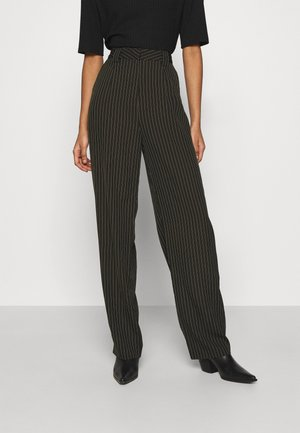 STRIPED PANTS - Trousers - black/white