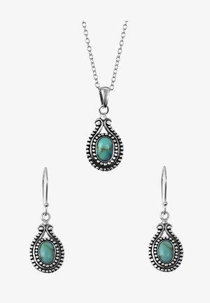 SET  - Oorbellen - zilverkleurig/turquoise