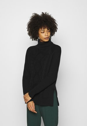 CABLE TURTLENECK - Jumper - true black