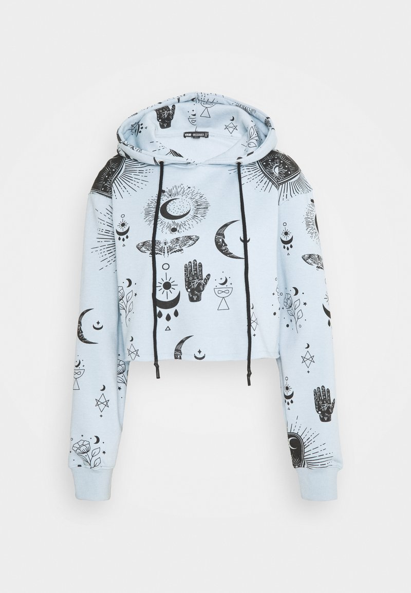 Missguided - PRINT CROPPED HOODY - Jersey con capucha - dusky blue