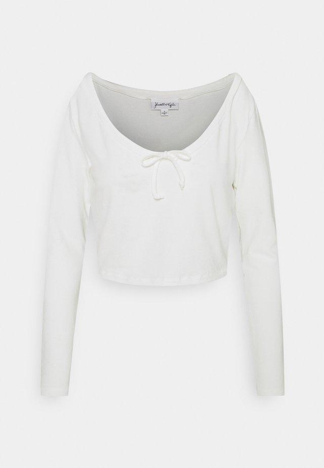 LONGSLEEVE TIE  - Top sdlouhým rukávem - white
