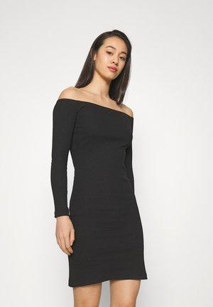 BASIC - Ribbed casual off shoulder long sleeves mini dress - Fodralklänning - black