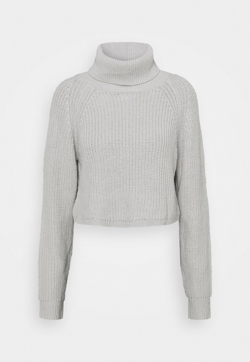 Missguided Tall - ROLL NECK BATWING CROP JUMPER - Pullover - grey