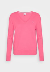 Tommy Jeans - SOFT TOUCH V NECK  - Sweter - glamour pink - 0