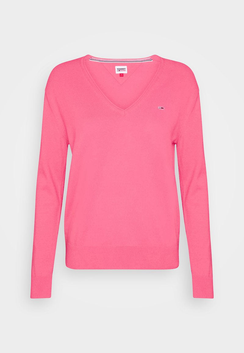 Tommy Jeans - SOFT TOUCH V NECK  - Sweter - glamour pink