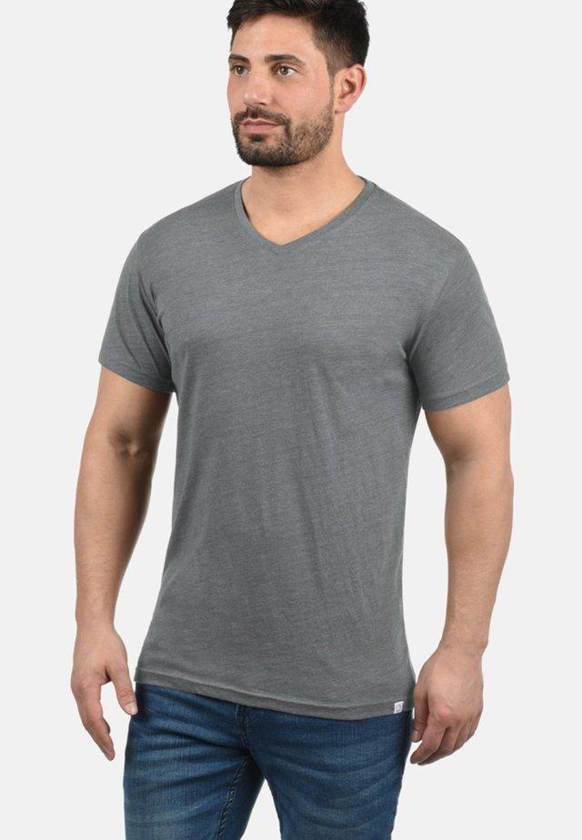 V-SHIRT BEDO - Basic T-shirt - grey melange